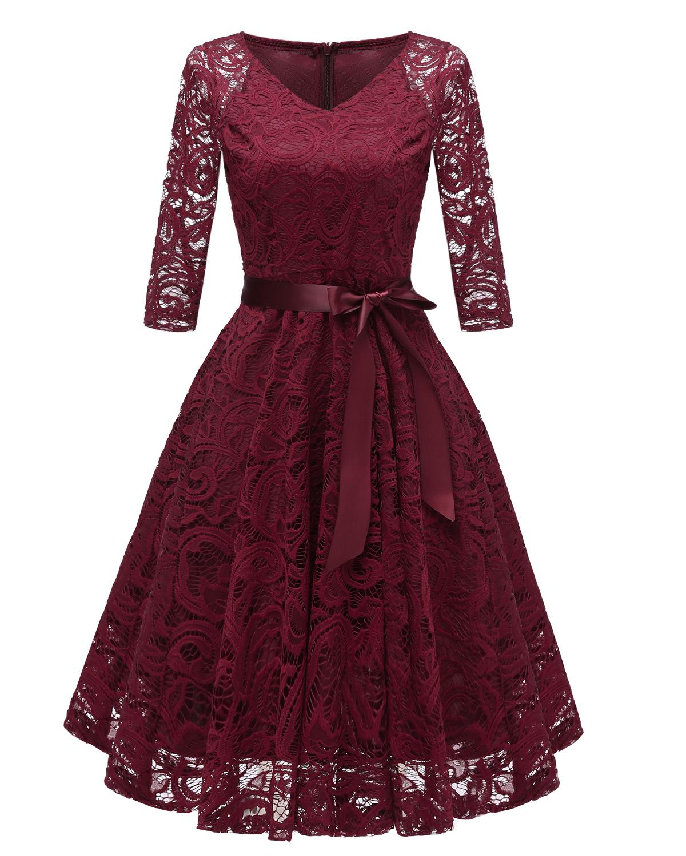 Long Sleeve Burgundy Lace Cocktail Dresses Bow Vestidos Elegant Short Formal Dress Party 2019 Homecoming Dress