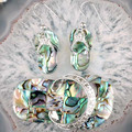 Charm New Natural Abalone Shell Slipper Shoe Bead Dangle Earrings & Pendant 1 Set