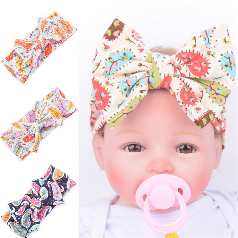 PARRY Dropship girls headband hair accessories Baby Infant Kids Girls Bowknot Hairband Turban Bowknot Headwrap Hairband Feb728x 13 colors lovely girls print floral rabbit ears hairband turban knot headband hair band accessories