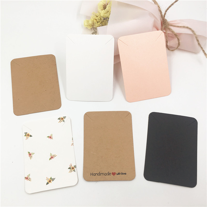 50pcs/lot Kraft Paper DIY Handmade  Necklace Card Jewelry Display Cards 7.8x5.6cm  Packing Paper Cards Accept Customization