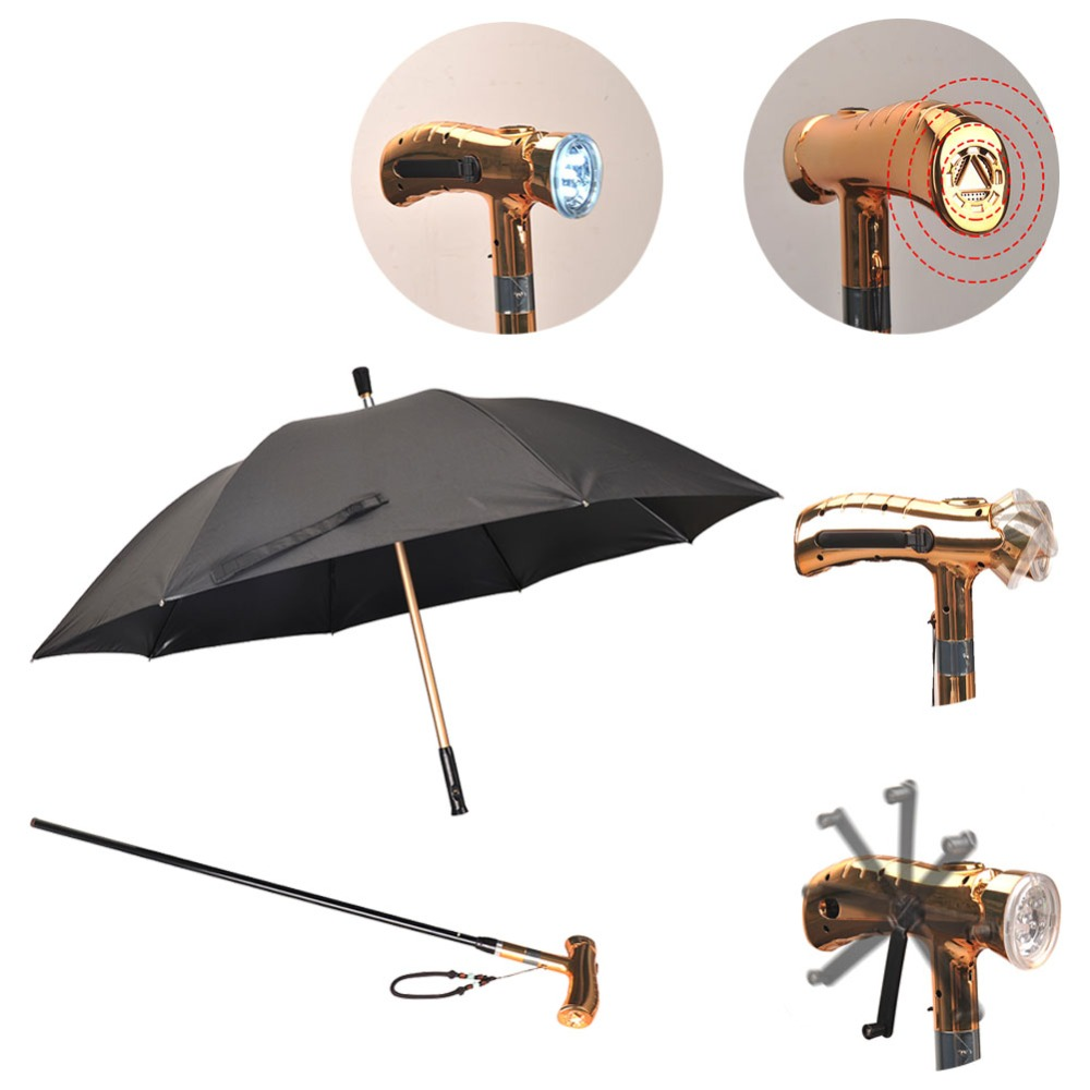 Multifunction Rechargeable LED Alarm Crutch Luxury Business Umbrella Walking Stick for Business Trip Outdoor Night Parents