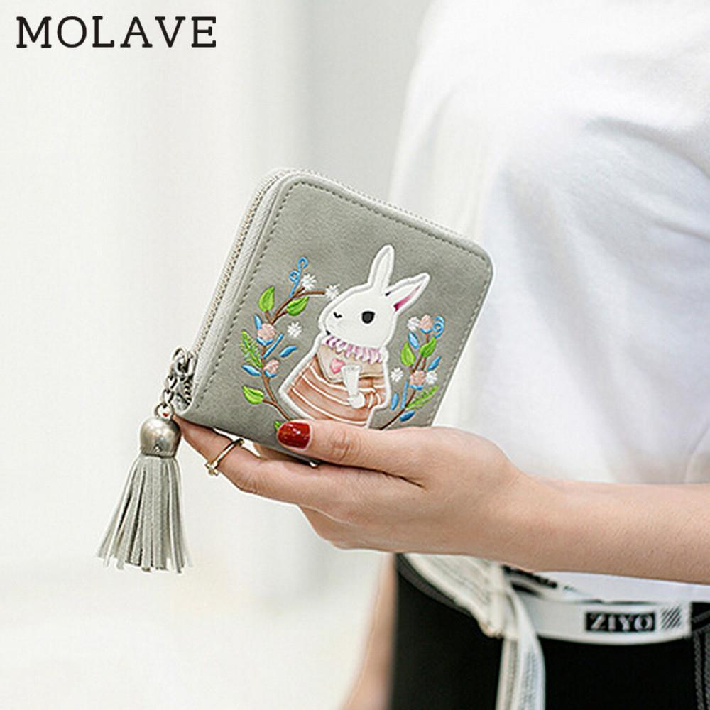 MOLAVE wallets wallet female Solid card holder tassel Women Leather Small Mini Wallet Holder Zip Coin Purse Clutch Handbag Mar7 women purse solid color mini grind magic bifold leather wallet card holder clutch women handbag portefeuille femme dropshipping