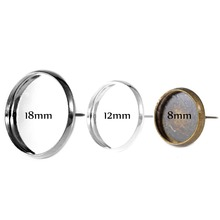 10pcs Fit 8-18mm 12mm Glass Cabochon Cameo Silver Plated Bezel Backs DIY Blank Earring Stud Posts Setting Base Earring Findings 10pcs fit 12mm stainless steel cameo glass cabochon metal bezel french lever blank base earring back for diy jewelry findings