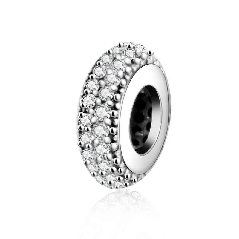 Fit Encantos Pandora Original Pulseira Spacer Charme 925 Prata Bead Abstrato Zircon Beads Jewelry Making 2016 Inverno DIY Berloque
