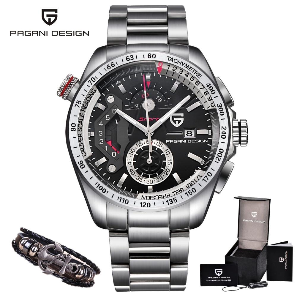 PAGANI DESIGN Luxe Marque Montres Reloj Hombre Hommes Chronographe Sport En Acier Plein Quartz Noir Montre M Relogio Masculino Saat