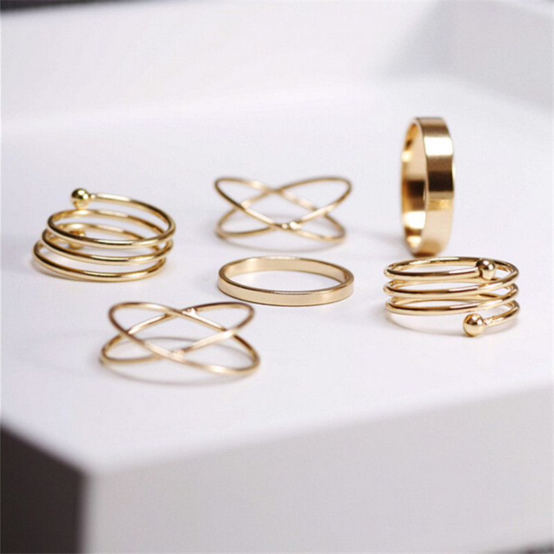 6Pcs punk gold-color stackable Knuckle midi rings for women Finger Ring set bague Ring Set anillos mujer anel