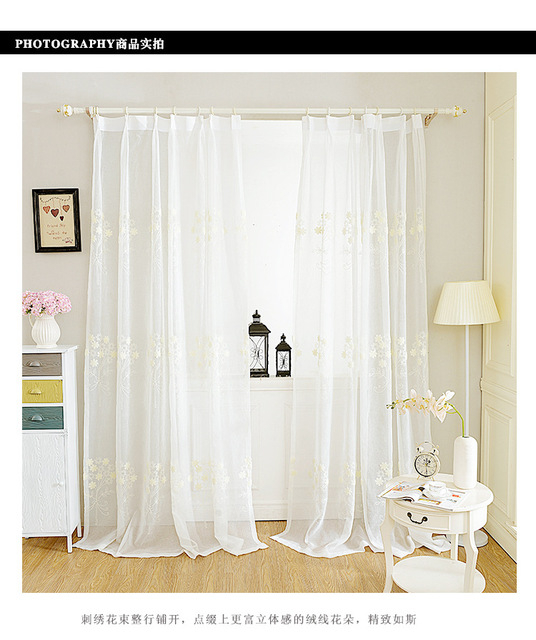 White Color High end Window Tulle Translucidus Curtains Modern