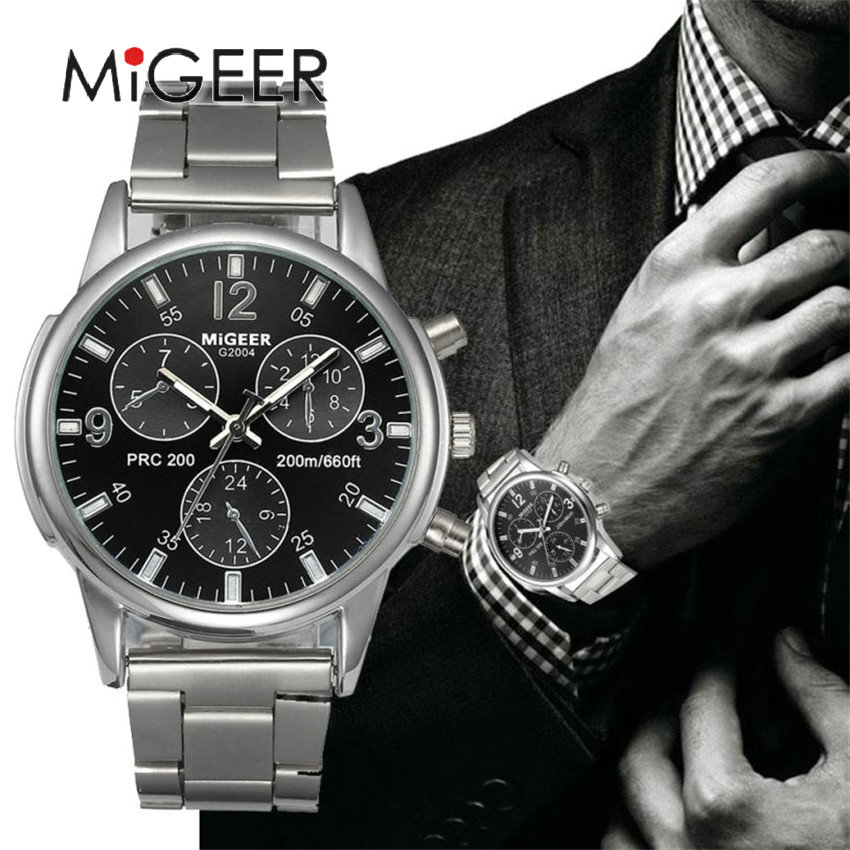 MIGEER Luxury Brand Men Quartz Casual Watch Army Military Sports Watch Men Watches Male Crystal Stainless Steel Clock #Gofuly418 migeer 2009 trendy steel band men quartz watch