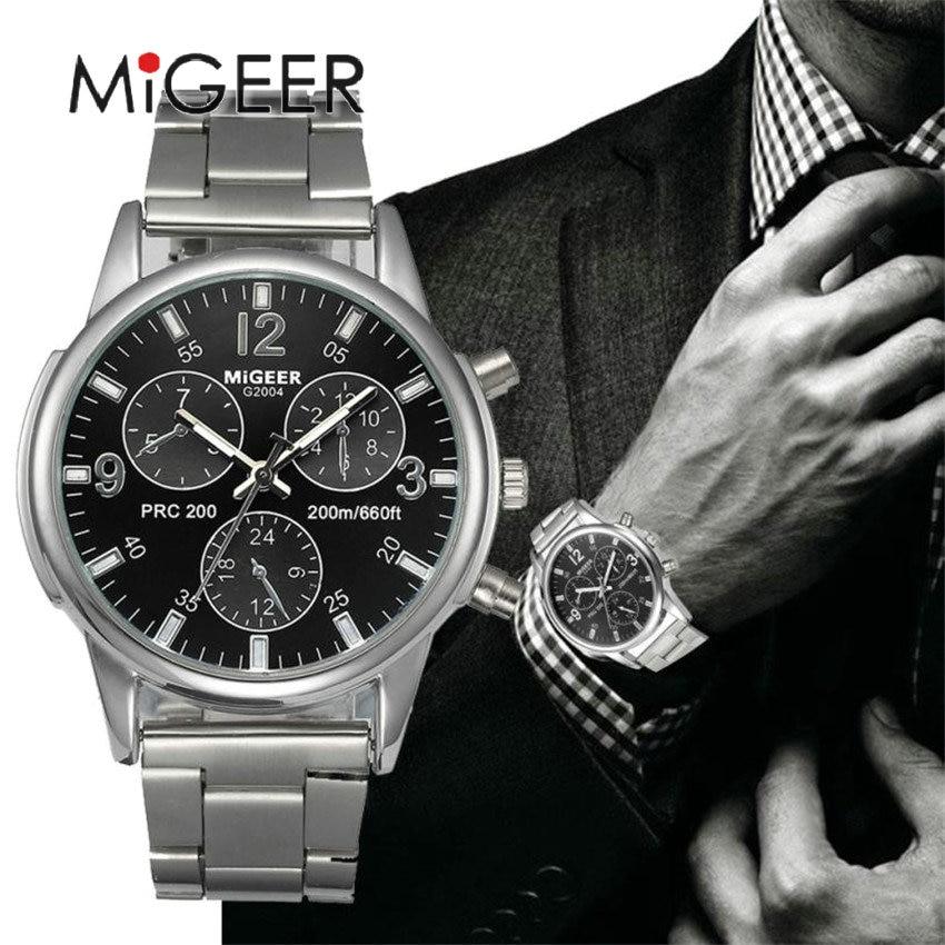 MIGEER Marque De Luxe Hommes Quartz Montre Décontractée Militaire Montre De Sport Hommes Montres Hommes En Acier Inoxydable Cristal Horloge # Gofuly418