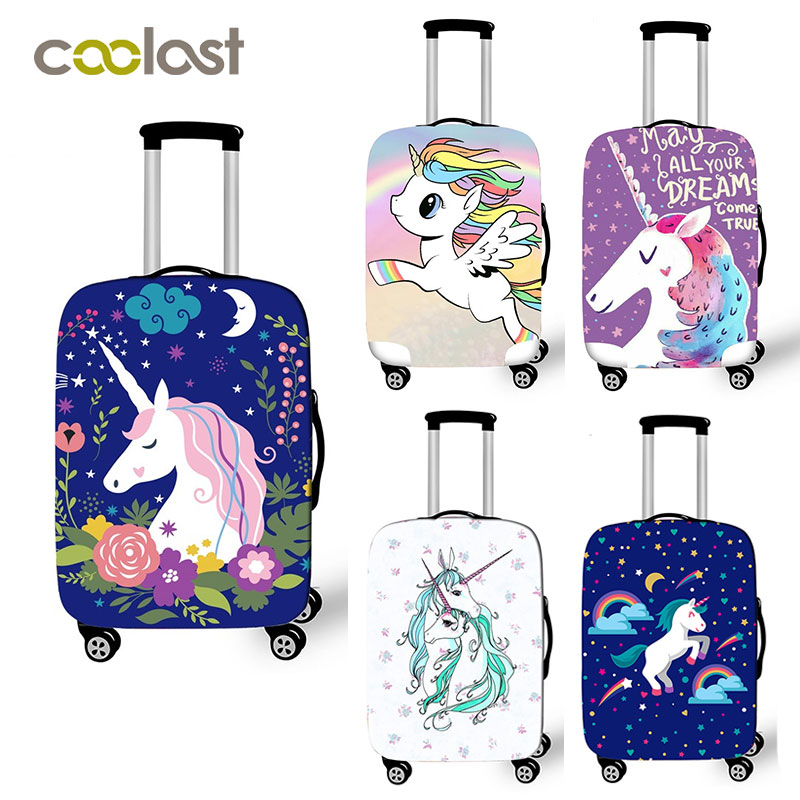 18-28 Inh Pink Suitcase Protective Covers Cartoon Unicorn Luggage Cover Elastic Travel Bag Cover valise 70cm Travel Accessories
