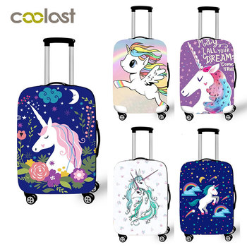 18-28 Inch Pink Suitcase Protective Covers Cartoon Unicorn Luggage Cover Elastic Travel Bag Cover valise 70cm Travel Accessories