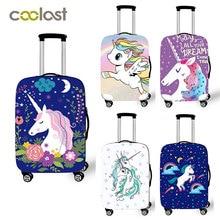 18-32 pulgadas maleta Rosa cubiertas de protección de dibujos animados unicornio cubierta de equipaje elástico bolsa de viaje funda de valise 70 cm de viaje accesorios