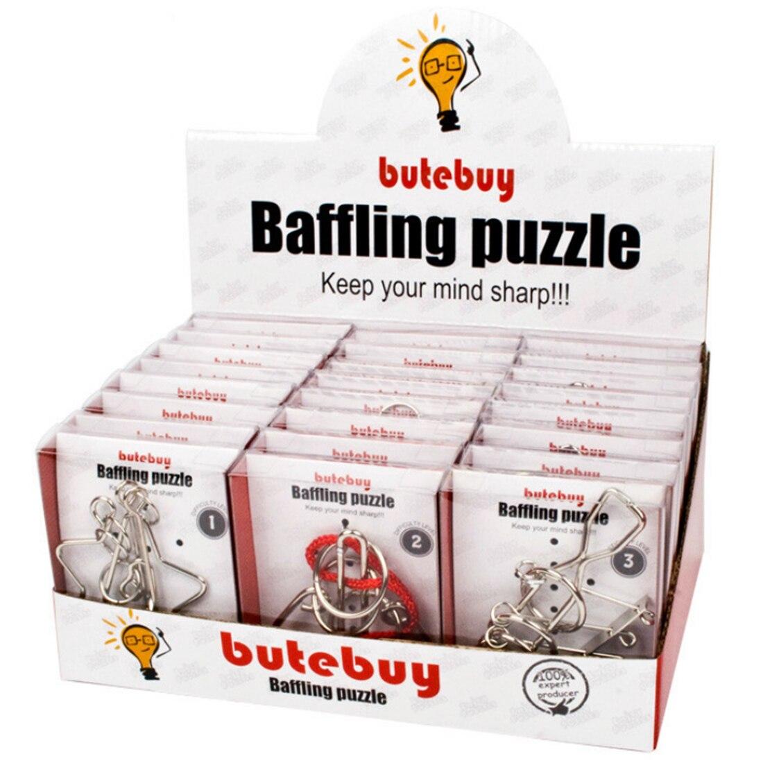 24 pcs Classique IQ Métal Fil Puzzles Casse-tête Classique Jouet Intellectuelle Puzzles Jeu Jouets Pour Adultes Enfants-Argent