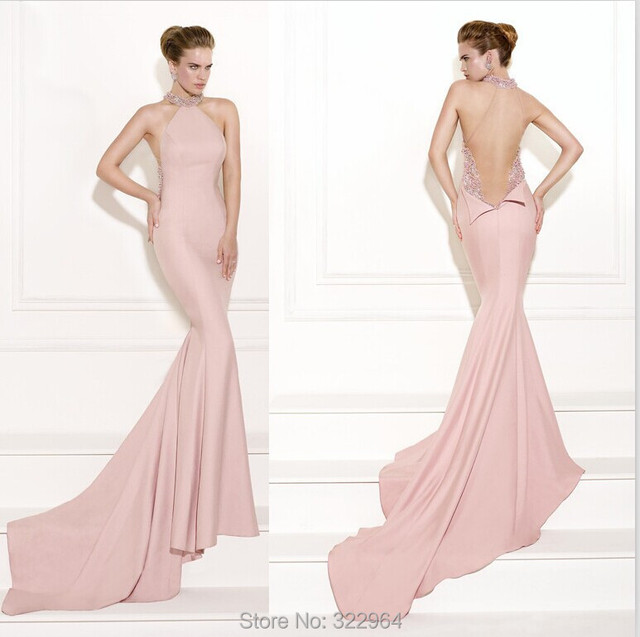 2015 Nude Pink Halter Evening Dresses Mermaid Sheer Neckline with ...