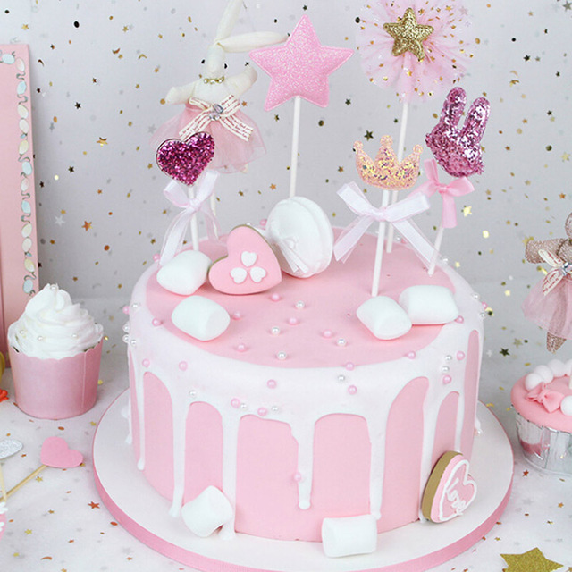 Decor Wedding Kids Birthday Insert Card Star Rabbit Shape Cake Cupcake Flag Topper Heart Crown Party Supplies 5Pcs Set
