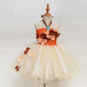 Image 1 - Платье принцессы, пачка Моаны для девочек, вечерние платья на день рождения, детские кружевные тюлевые платья с цветами для девочек, Детский карнавальный костюм на Хэллоуин