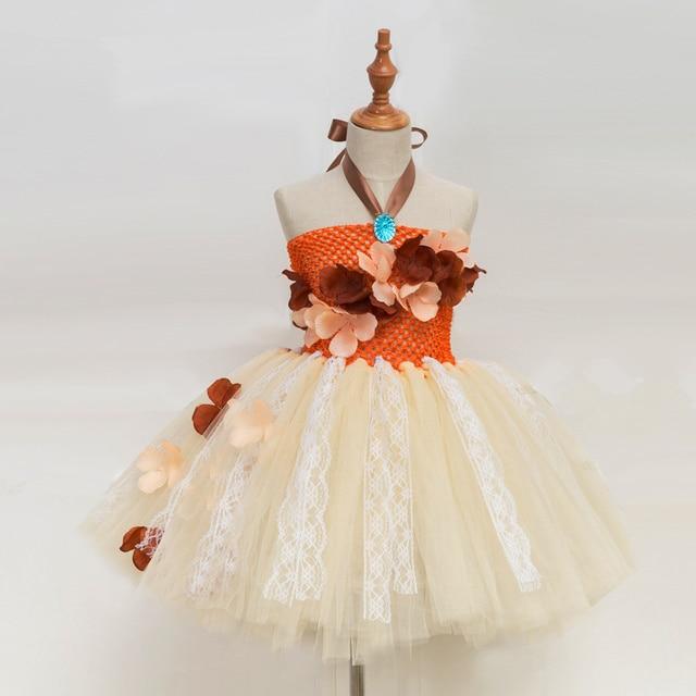 נסיכת Moana טוטו שמלת בנות מסיבת יום הולדת להתלבש ילדי תחרה טול פרח שמלת ילדה ילדים ליל כל הקדושים Cosplay תלבושות