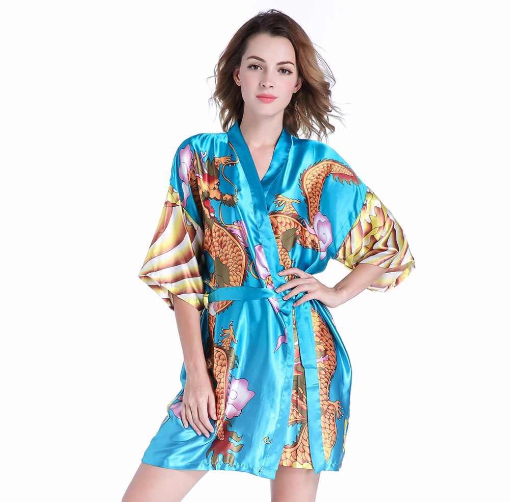 Detail Feedback Questions about 2019 New Female Sexy Short Satin Kimono  Robe Ladies Faux Silk Bathrobe Dressing Gown Novelty Dragon Nightwear Sky  Blue PF02 ... 94769925e