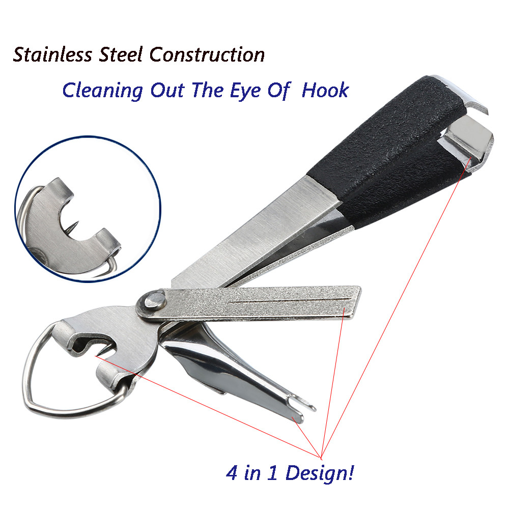 4 In 1 Portable Quick Knot Cutter Nippers Snip Tying Tool Nail Clippers Line Durable Stainless Steel Multifunction 16g