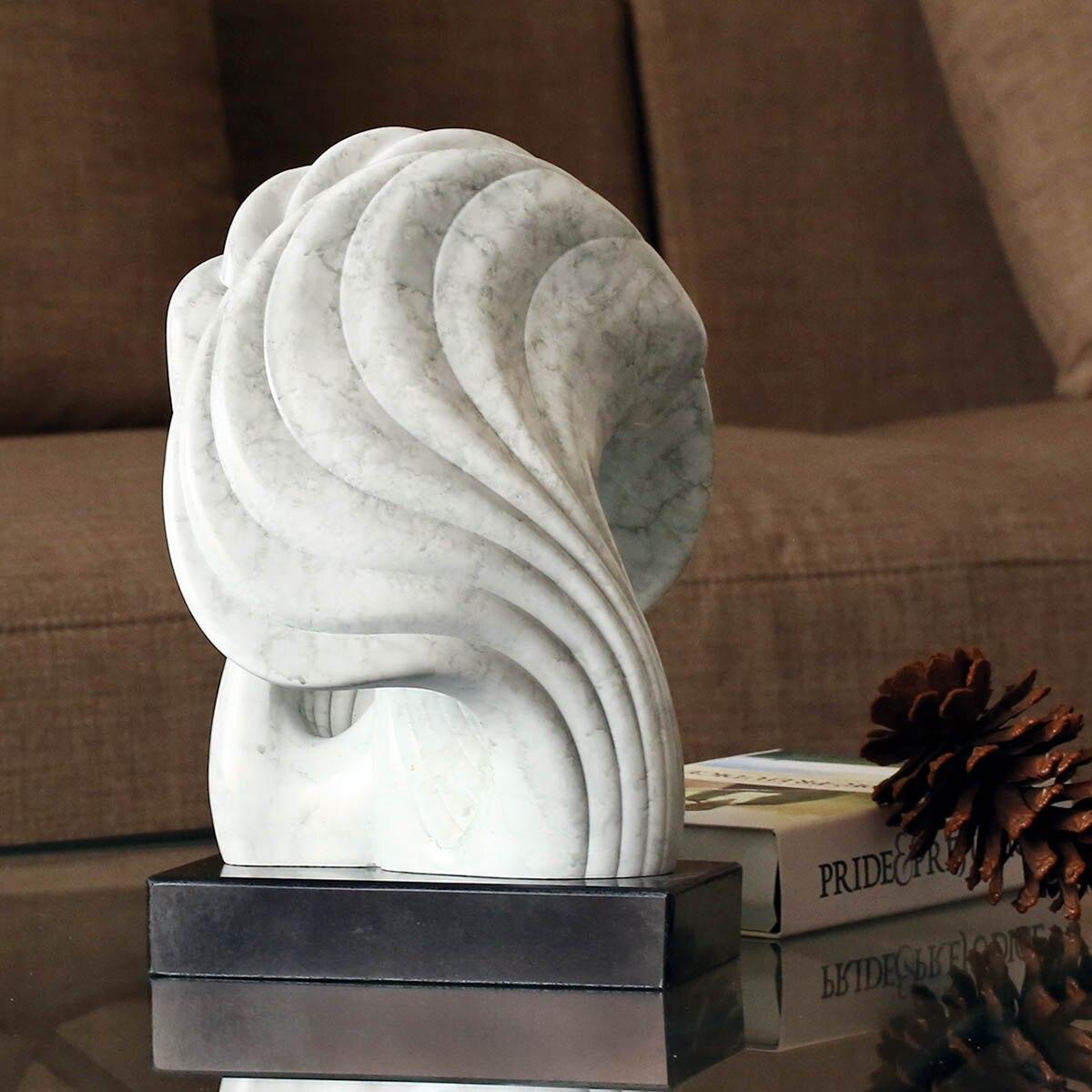 Sottile Decorativo Scultura Borsette con Base In Marmo Convolute Linee di Marmo Texture Sensazione Superficie Astratta Statuetta In Resina Decor