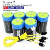 6 stücke Etinesan 1,5 v li-polymer 9000mWh D größe wiederaufladbare D batterie D typ + USB ladekabel