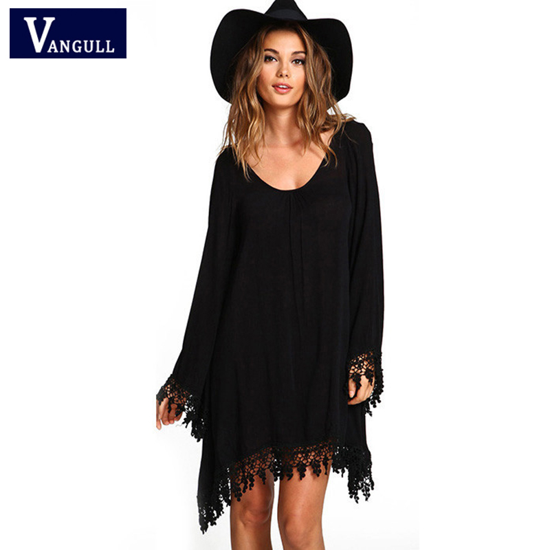 Spring & Autumn Casual Women's Clothing Plus Size 5XL Long sleeve tassel dress Solid O-Neck Hem irregular women Dress Straight