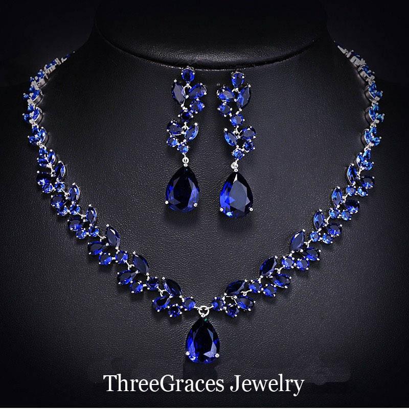 ThreeGraces Luxury Bridal Jewelry Set Royal Blue Zirconia Crystal ...