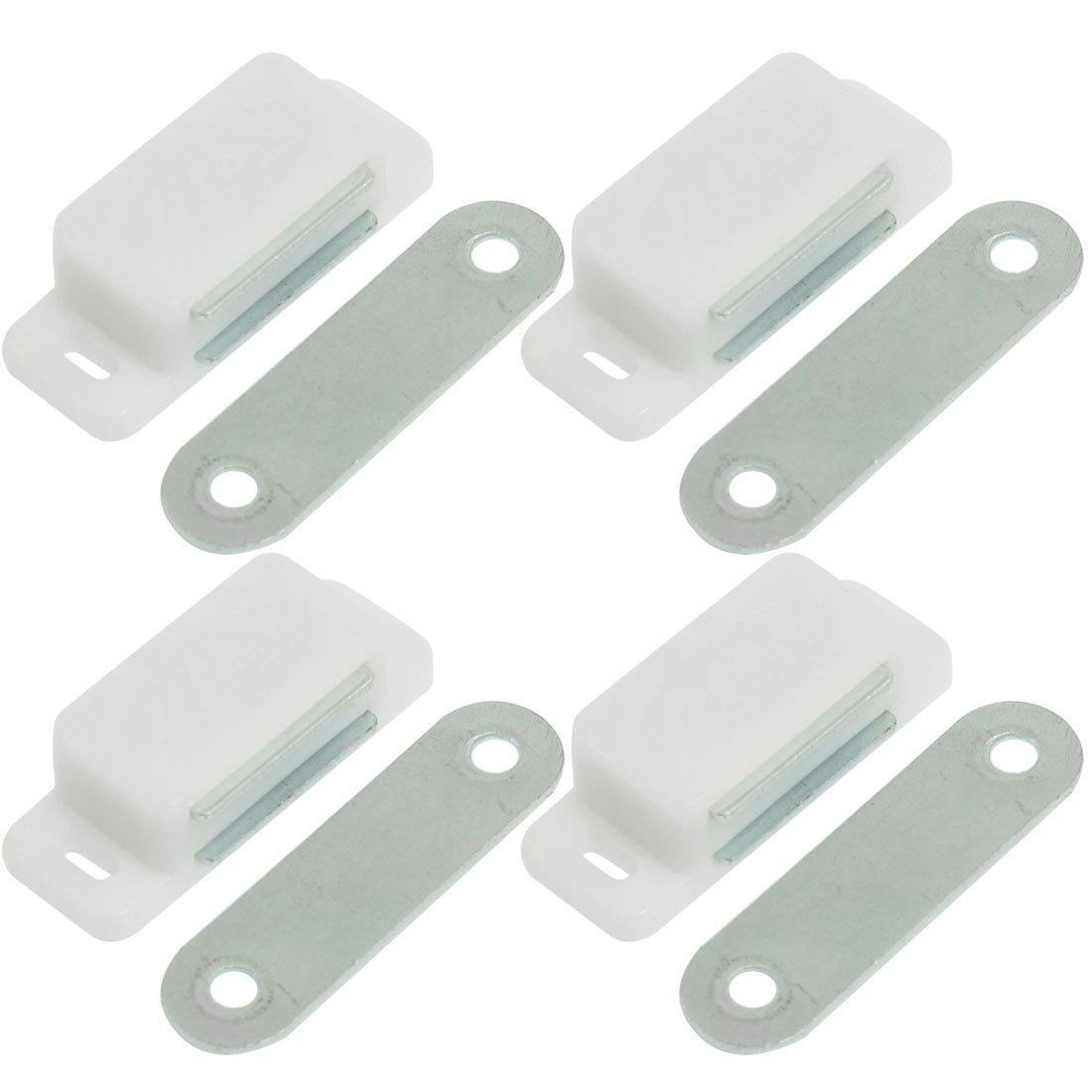 New Style 4 Pcs White Plastic Shell Magnetic Metal Catch Latch Plate for Cupboard Cabinet push to open beetles drawer cabinet latch catch touch release kitchen cupboard new arrival high quality