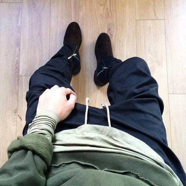 Preto/Verde Hip Hop coreano Moda Calças com zíperes conexão fábrica de Roupas dos homens urbanos Homens corredores temor de deus