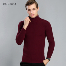 Winter Thick Warm Sweater Men Turtleneck Brand Mens Sweaters Slim Fit Pullover Men Wool Knitwear Double Collar Homme