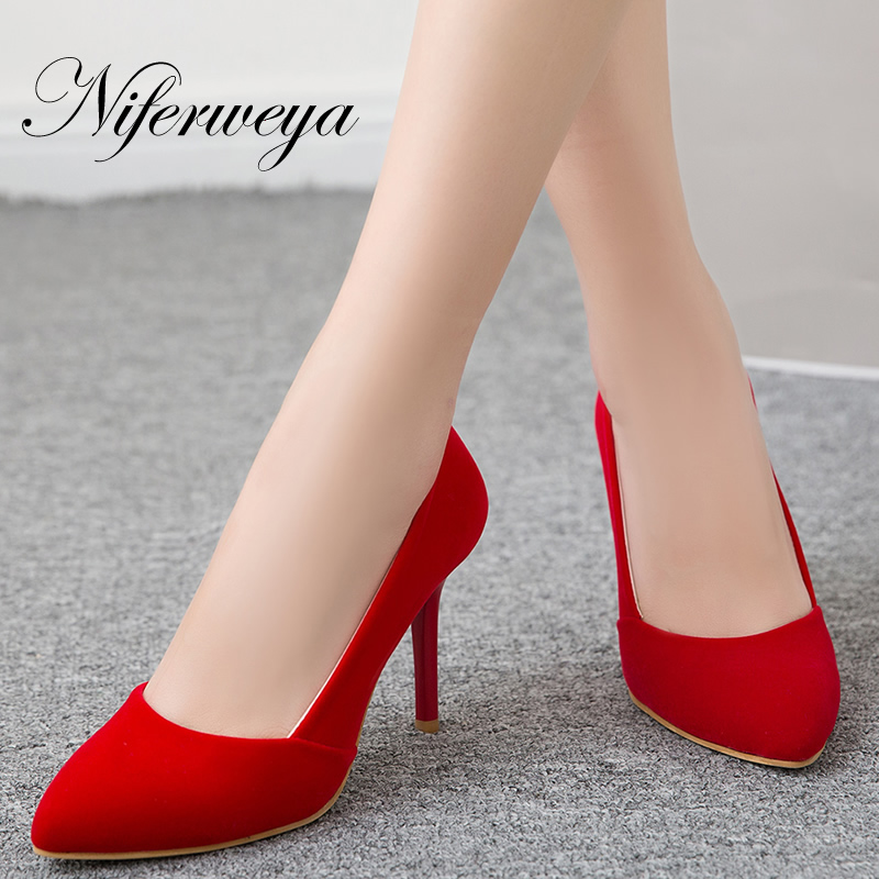 Big size 32-48 Spring/Autumn women shoes fashion flock ladies pumps sexy Pointed Toe shallow thin heel red wedding high heels 2018 new plus big size 33 44 black red peep toe fashion sexy high heel platform spring autumn lady shoes women pumps d1103