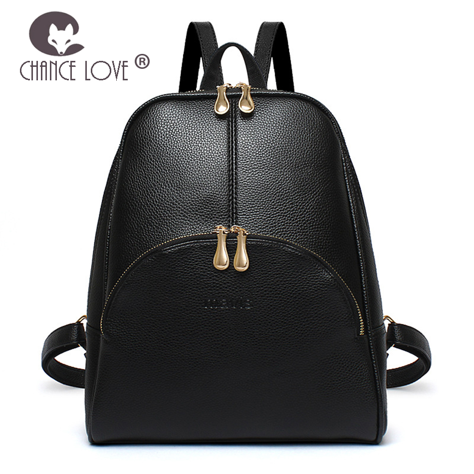 Chance Love 2018 new trend female backpack fashion Black arch double zipper bag leisure college wind travel backpack