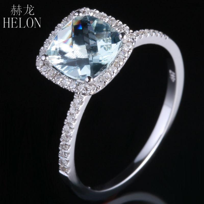HELON 7x7mm Cushion 1.2ct Aquamarine 0.2ct Diamonds Engagement Anniversary Classical Jewelry Solid 10K White Gold Ring Womens