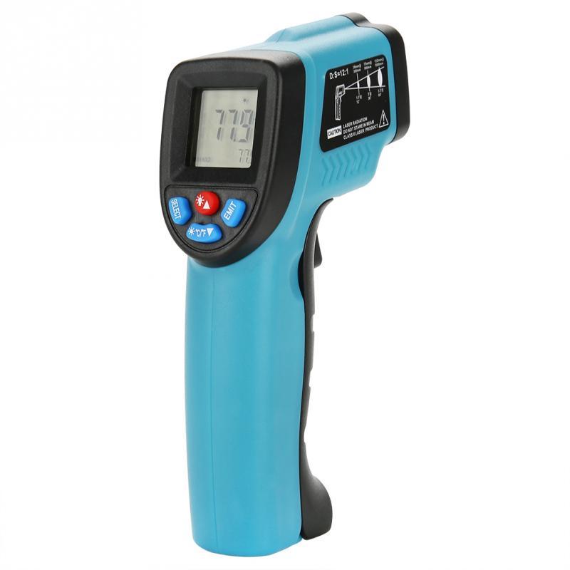 GM550E Бесконтактный лазерный термометр пистолет ЖК дисплей ИК  инфракрасный цифровой C/F выбор температуры поверхности пирометр Imager  синийПриборы для измерения температуры   -