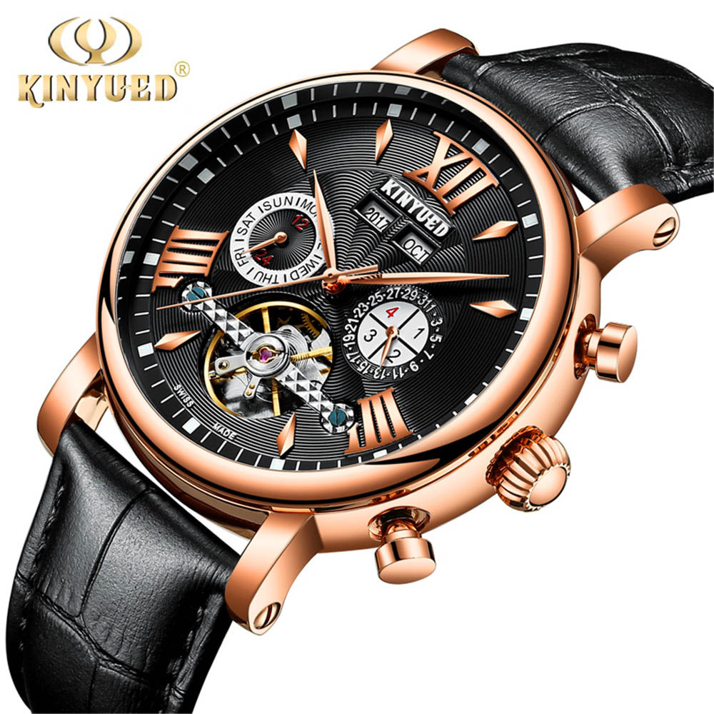 KINYUED Flying Tourbillon Watch Men Leather Waterpoof Perpetual Calendar Mechanical Mens Watches Automatic Skeleton reloj hombre kinyued automatic skeleton watch men waterproof perpetual calendar self wind tourbillon mechanical watches erkek mekanik saat