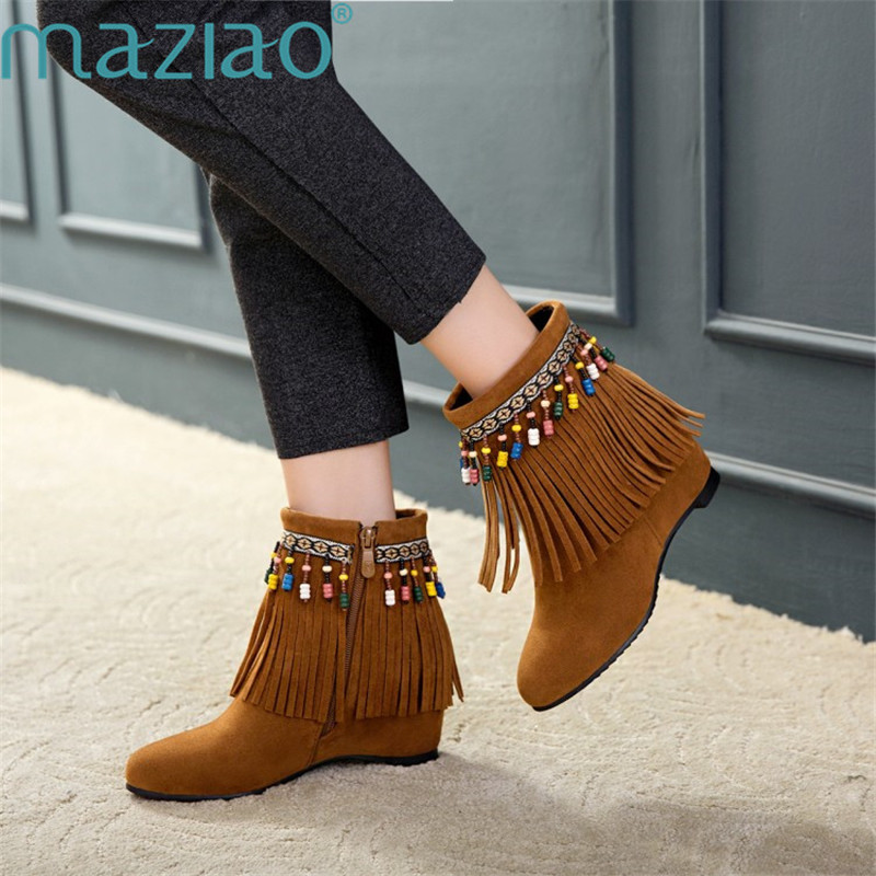 Women Snow Boots Cute Suede Winter Shoes Fur Ball Boots Fashion Boots Non-Slip Tassels Casual Shoe MAZIAO