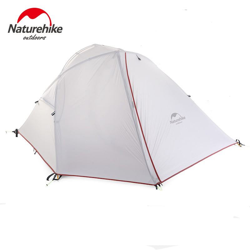 Naturehike 1 2 Person 3 Seasons Ultralight Camping Tent NH Outdoor One Bedroom 20D Silicone/210T Plaid Fabric Tent Double-layer naturehike 3 person camping tent 20d 210t fabric waterproof double layer one bedroom 3 season aluminum rod outdoor camp tent