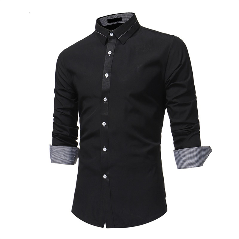 2018 brand Formal shirt men fashion slim fit Solid gray black mens dress shirts long sleeve fitness Office male shirt chemise ...