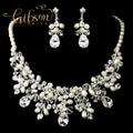 Envío gratis magnífico cristalino claro de plata y marfil de agua dulce collar de perlas y aretes de joyería nupcial Set