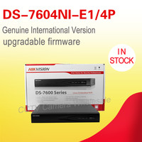 Free Shipping Hikvision 4CH NVR DS 7604NI E1 4P 5 Megapixels Resolution Recording 4 Independent Interfaces