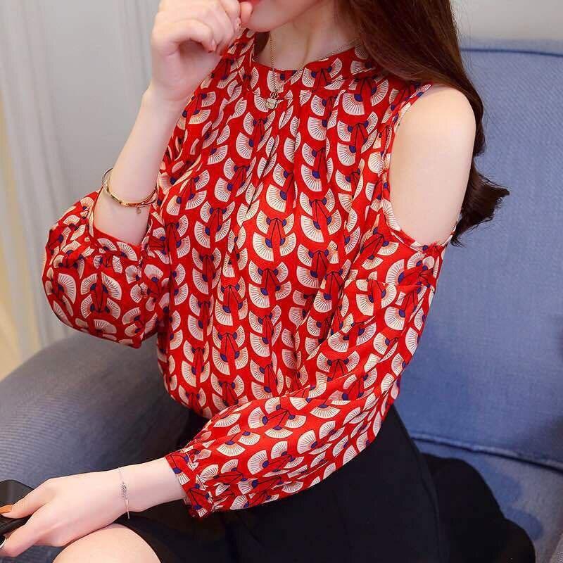 Spring Autumn Long Sleeve Blouse Sexy Off Shoulder Top Women Sweet Print Shirt