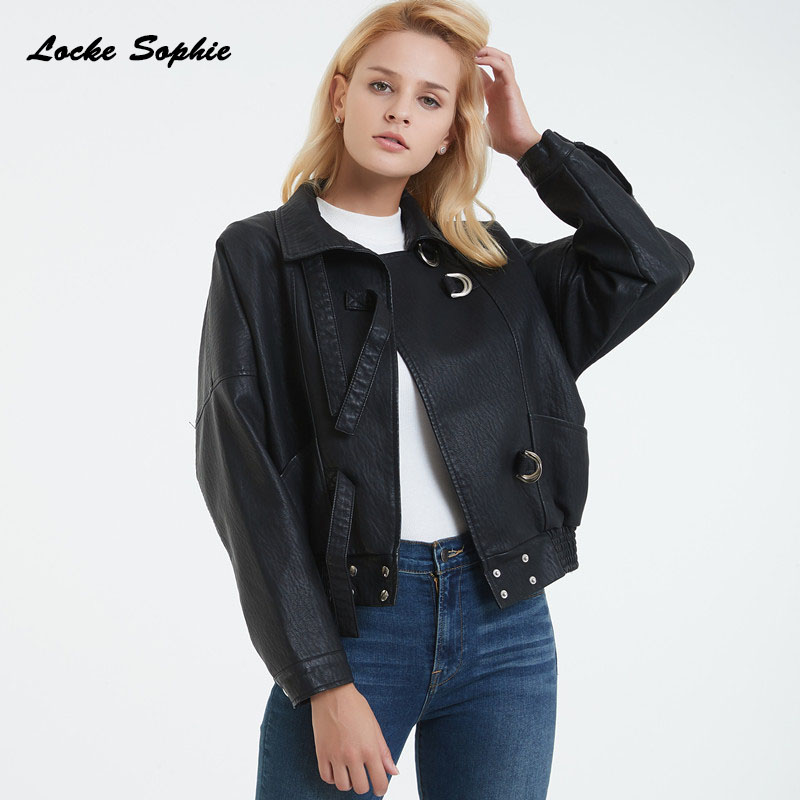 Women's Plus size short jacket blazers 2019 Autumn PU   leather   Splicing faux fur Black Jacket ladies loose locomotive blazers