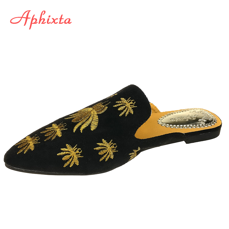Aphixta Women Shoes Fashion Spider Slippers Shallow Embroidery Low Heel Flat With Autumn Floral Point Toe Outdoor Black SlippeAphixta Women Shoes Fashion Spider Slippers Shallow Embroidery Low Heel Flat With Autumn Floral Point Toe Outdoor Black Slippe
