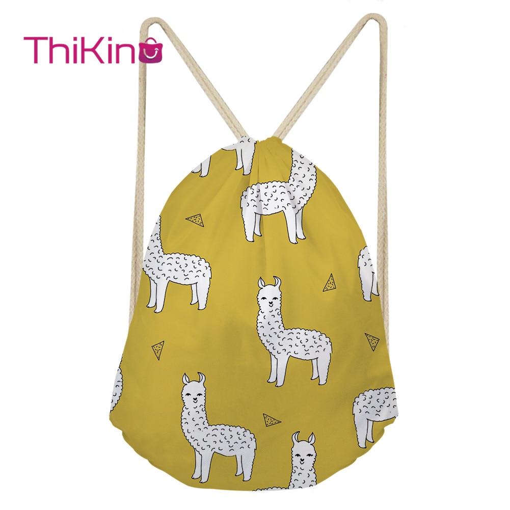 Thikin Alpaca Cartoon Casual Sack Drawstring Bag For Women Travel Backpack Toddler Softback Lady Beach Mochila DrawString Bag
