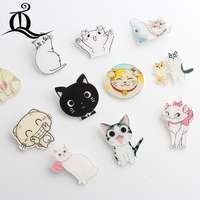 Big eye mix 1PC Shirt Cute Cartoon brooch Acrylic Badge Pins Bag Pack bag Decoration Fruit Animal dog cat animal Brooch badge,67