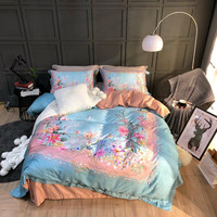 100% Египетский хлопок 3D Цветочные роскошные постельного белья Королева king size постельное белье Комплект спальный комплект постельного белья