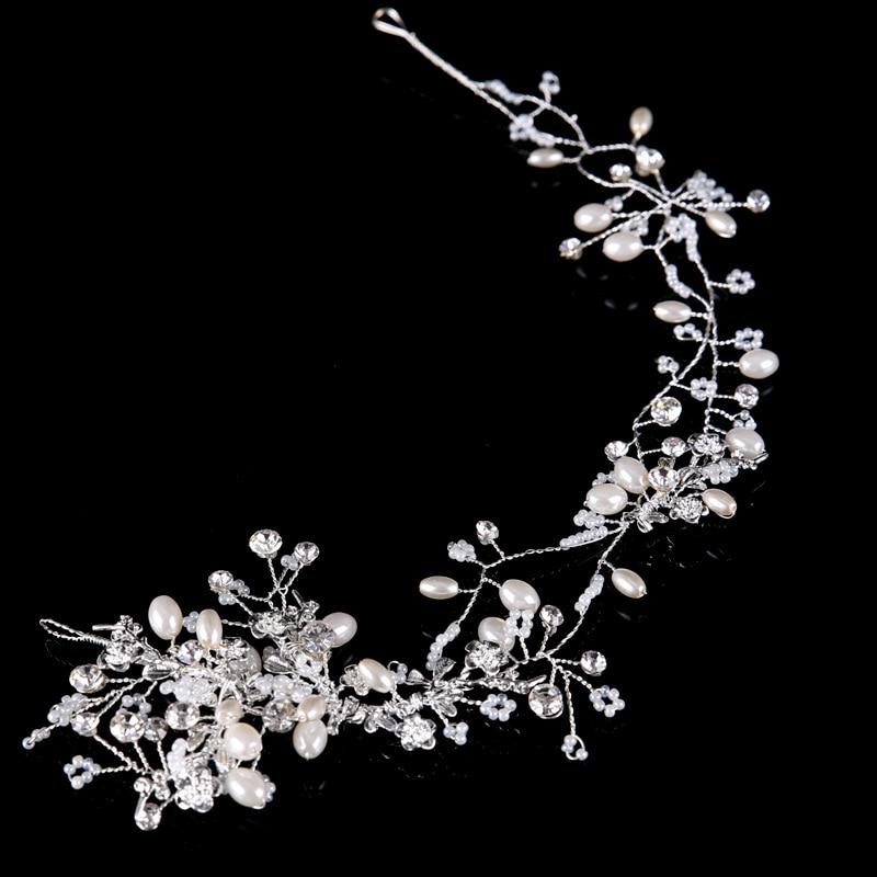 Baroque Hair Jewelry Crystal Pearl Bridal Crossed Hair Vine Flower Halo Romantic Wedding Hair Accessories Headband Tiara JL