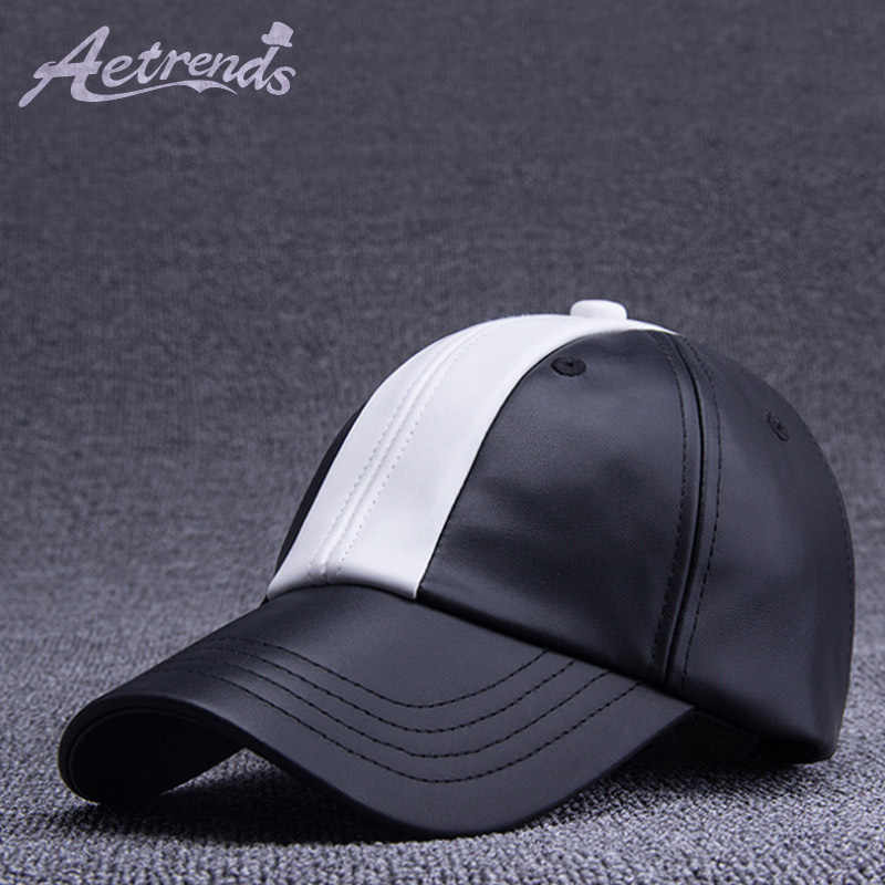 d17506337e2ca4 [AETRENDS] 2018 Winter PU Leather Baseball Caps Youth Black White Faux  Leather Hat Baseball