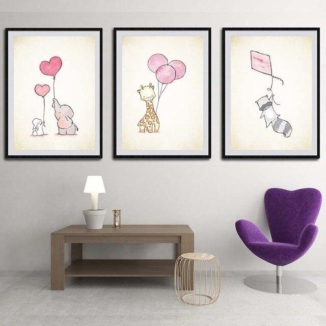 Lovely Animal elefante jirafa conejo con globo lienzo pintura arte ...