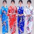 2017 Женская Мода Павлин Кимоно в Японском Стиле Халат Ночная Рубашка Платье Юката Халат Пижамы с Поясом